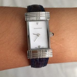 Navy Leather Burberry Watch
